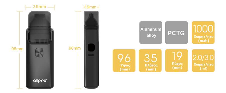 aspire breeze 2 aio kit διαστασεις